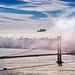 The Space Shuttle Endeavour Over Golden Gate Bridge by davidyuweb