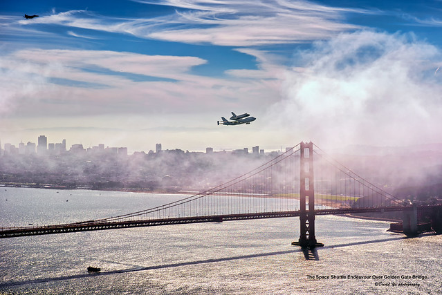 The Space Shuttle Endeavour Over Golden Gate Bridge