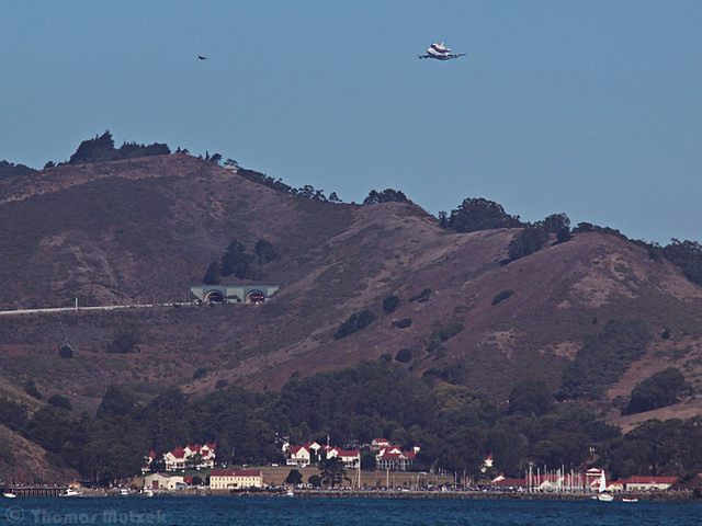 Shuttle Endeavor above Sausalito and 101