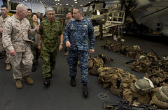 PHILIPPINE SEA (Sept. 23, 2012) Gen. Eiji Kimizuka, center, chief of staff of the Japan Ground Self-Defense Force and Lt. Gen. Kenneth Glueck Jr., commanding general of the 3rd Marine Expeditionary Force are given a ship tour by Capt. Daniel Dusek, right, commanding officer of the forward-deployed amphibious assault ship USS Bonhomme Richard (LHD 6). (U.S. Navy photo by Mass Communication Specialist 2nd Class Michael Russell)