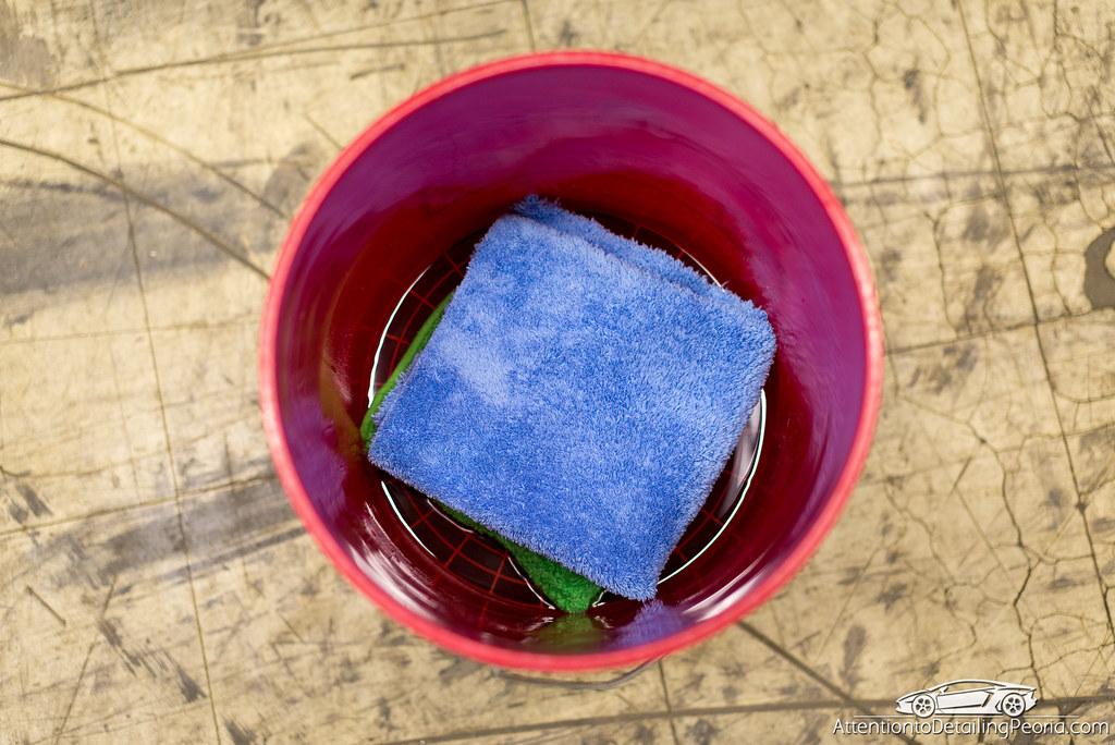 Exterior Towels in wash bucket