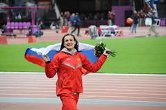 La russe Elena Isinbaeva: médaille de bronze olympique du saut à la perche à Londres