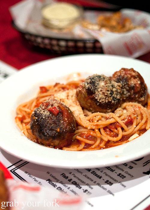 spaghetti with meatballs at the forresters surry hills