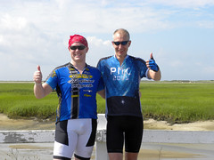 Jay & Ornoth savoring a beautiful day at the PMC's finish line.
