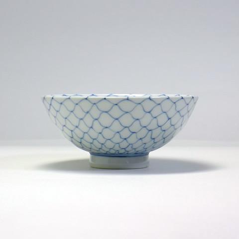 砥部焼 陽貴窯「丸茶碗/編目文(大)」