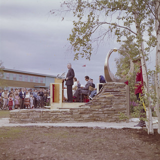 John Diefenbaker speaking at the official opening of Inuvik, N.W.T., July 21, 1961 / John Diefenbaker prononçant un discours lors de l'inauguration officielle d'Inuvik, T.N.-O., 21 juillet 1961