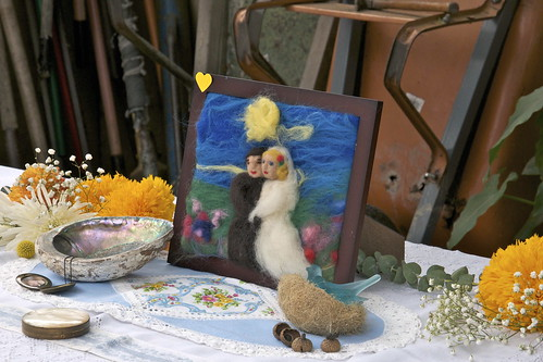 Nettle Felted Wedding Picture