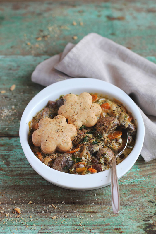 Mushroom Ragout with Cheese&Herb Scones