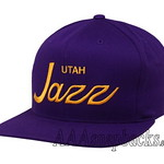 Mitchell Ness NBA Vintage Utah Jazz Snapback Hats Caps Solid Script Adjustable Purple