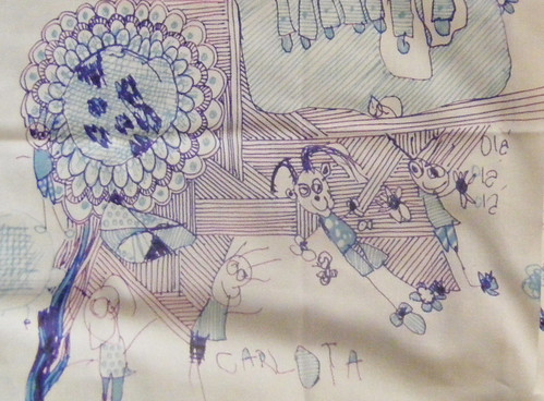New fabric made with Carlota's drawing, just love it!....