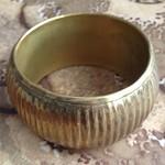 wide striped brass bangle