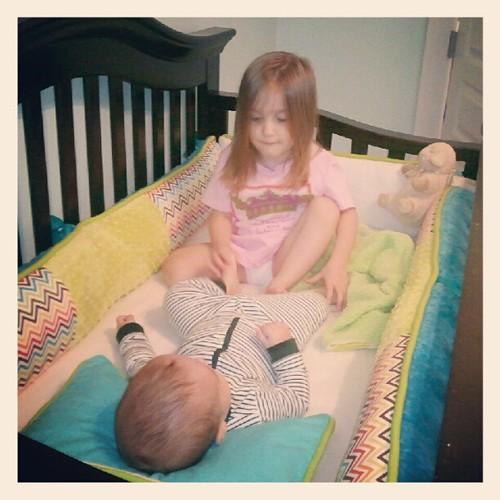 sweet babies playing.