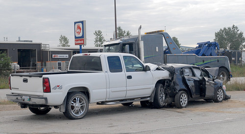 Four vehicle accident on Brookside Blvd. just north of Inkster Blvd. in Winnipeg, August 27, 2012