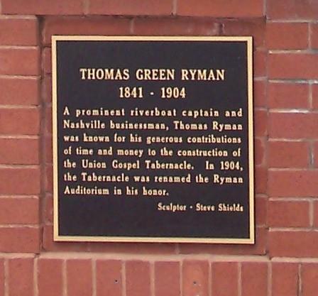 Photo of Thomas Green Ryman black plaque