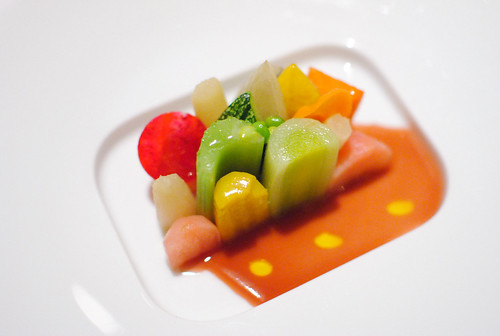 "Seasonal Glazed Vegetable Mosaic ""jus de cuisson,"" lemon oil"