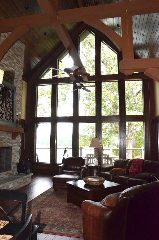 Houzz Appalachia Mountain Great Room Rear Windows View