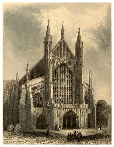 017-Catedral de Winchester lado oeste-Winkles's architectural and picturesque illustrations of the catedral..1836-Benjamin Winkles