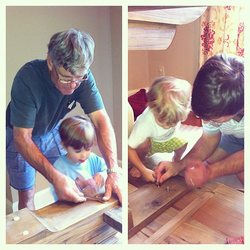 Thankful for granddads and dads that take extra time to teach their boys how to be men. #excitedaboutmynewkitchentable