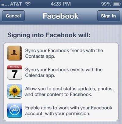 facebook @facebook email sincronización