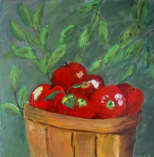 Apples. Acrylic on masonite.  12x11 in.  2012