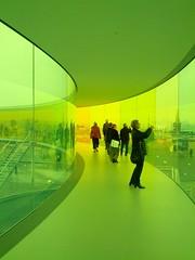 """Inside """"Your rainbow panorama"""" by Ólafur Elíasson on the roof of ARoS Aarhus Kunstmuseum, Aarhus, Denmark."""