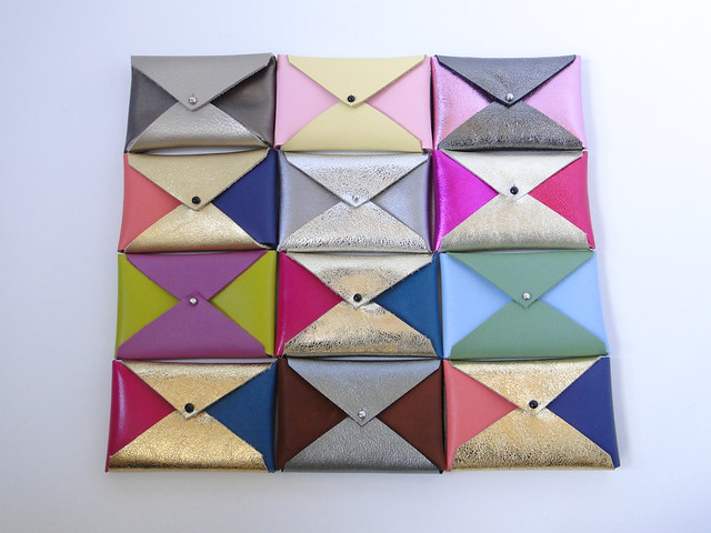 Leather Color Block Business Card Cases by Etsy seller Fabric Paper Glue