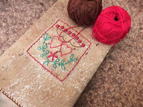 Embroidered cork fabric book cover