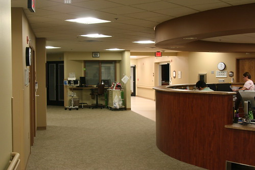 A nurses station at the new and improved Wagner Community Memorial Hospital.  The hospital has been remodeled and has a new wing thanks to support from USDA Rural Development.