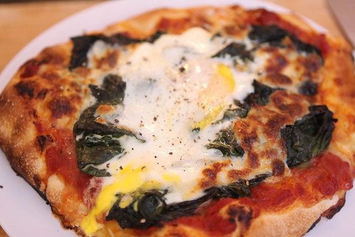 Personal Pan Spinach and Mozzarella Pizza with Egg
