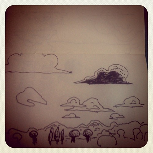 Clouds and Trees (Landscape from the Train) - Dessin de Gilderic