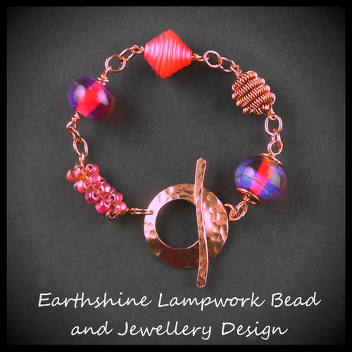 Hot pink and copper bracelet