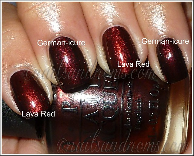 Rimmel Lava Red vs OPI Germanicure (flash)
