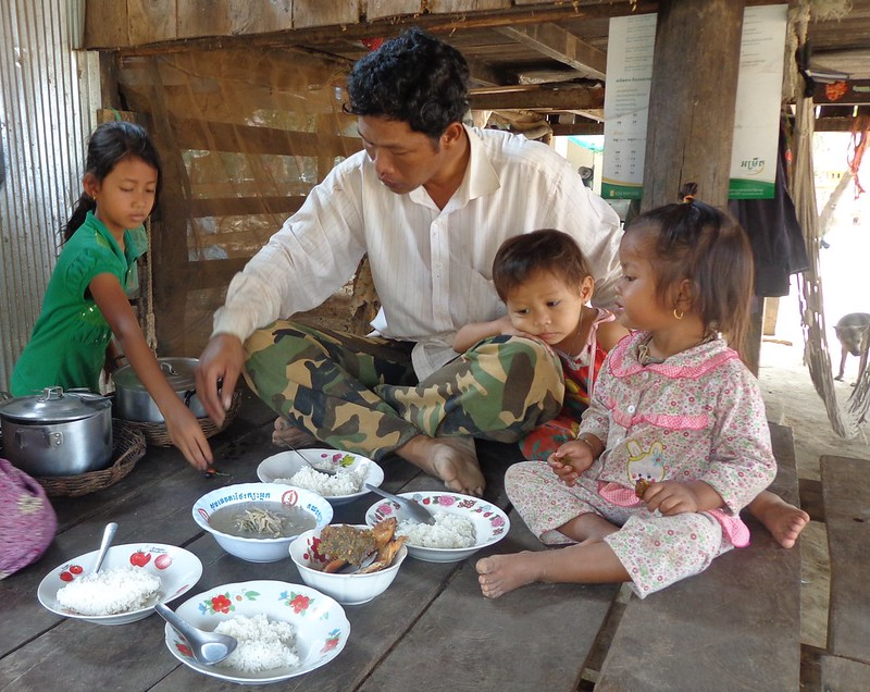 A family with small children sharing a meal with fish, Cambodia. Photo by Sean Vichet.