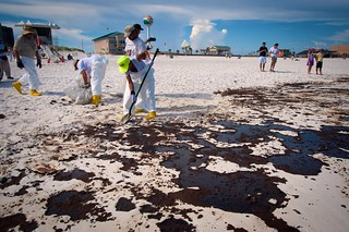 BP clean up crews remove oil from Pensacola beach.