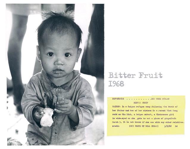 Saigon 1968 - Trái đắng - Refugee Orphan Camp Vietnamese Girl Wide Eyed Eats Grapefruit