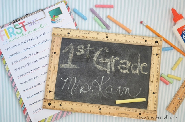 First and last day of school DIY with free printable by Two Shades of Pink