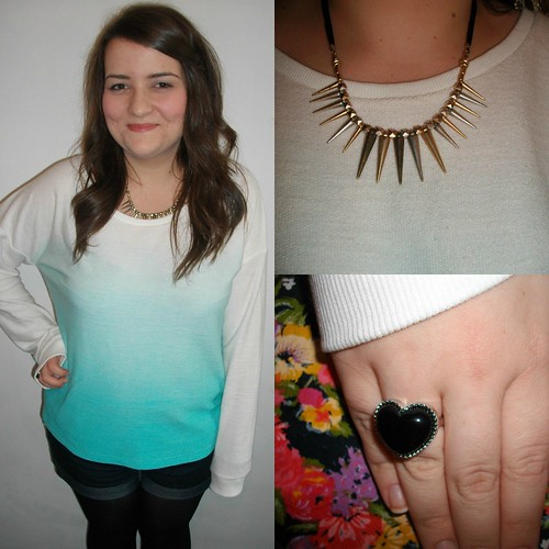 dip dye jumper, spike necklace - Copy