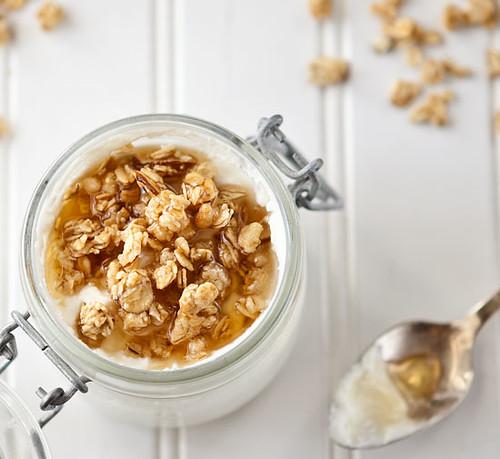 Homemade Ricotta, Granola and Honey Breakfast Parfait