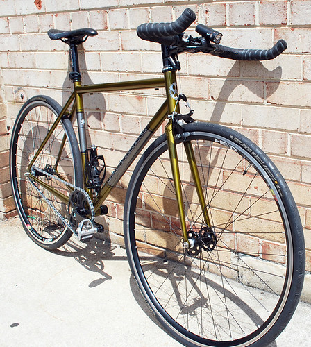<p>This 2012 Street Dog, styled with Gold Rush over Charcoal with Charcoal Panels, sports Hed Wheels and Paul's center pull front brakes.  Very fast!  63653</p>