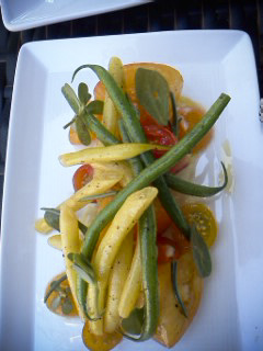 Seasonal vegetables, heirloom tomatoes, mustard aioli. Fresh, clean flavors and a big thumbs up. Refreshing.