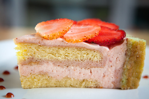Strawberry pistachio charlotte