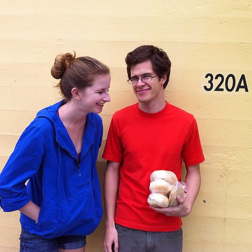 235/366 :: Jacob and Faith in front of the Bagelry.