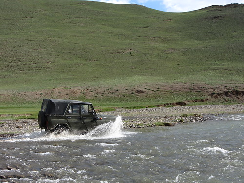 our jeep fording the stream
