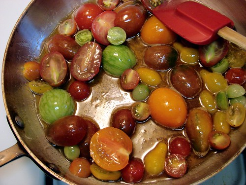 baby heirloom tomatoes in brown butter