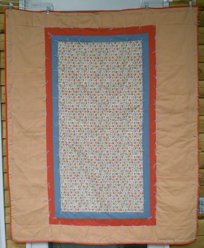 """Orange & Blue 49 x 60"""" tied quilt - SVQ"""