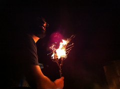 sparkler, fire, darkness, flame, night,