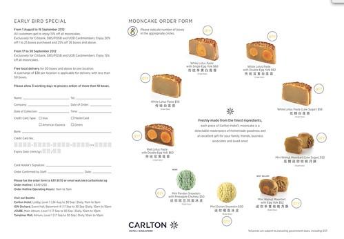 Carlton Hotel Mooncake 2012 Order Form