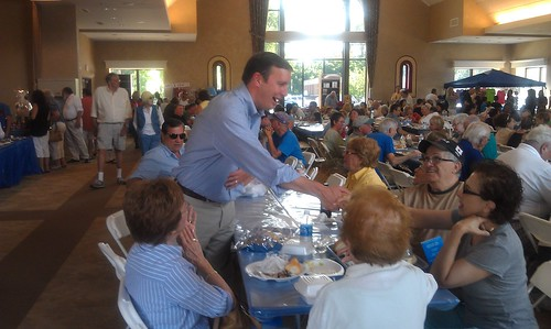 Chris Murphy working the crowd at the Greek Festival