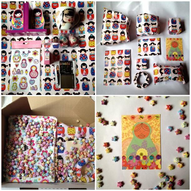 #russaindoll #gifts #present #postcard #luckystars #origami #dolls