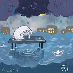 今日は雨が降ってる。 А у нас дождик.